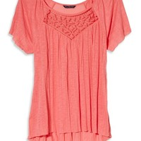 AEO Women's Cutout Crinkle T-shirt (Current Coral)