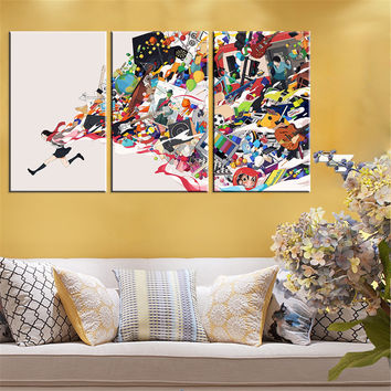 No Frame Modern Adstact Abstract Figure Cavas Painting Running Portait Oil Picture HD Poster Wall Painting Home Decoration 3pcs