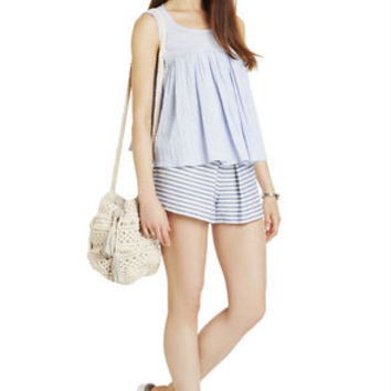 Shirred Babydoll Top in Blue/White - BCBGeneration