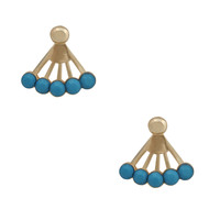 Fashion Blue Fanshaped Earrings Stud