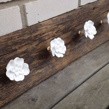 Rustic wood coat rack with white rose hooks entryway storage wall coat hook rack, towel rack, wall coat hooks jewelry organizer scraf hanger