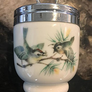 Royal Worcester Egg Coddler Birds and Insect Pattern Single Egg