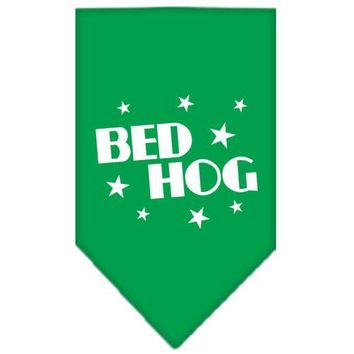 "Bed Hog Screen Print Bandana Emerald Green Small 14""x14"" square"