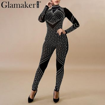 Glamaker Sexy transparent mesh women jumpsuit romper Leotard Female hot drilling jumpsuit playsuit Long sleeve combine jumpsuit
