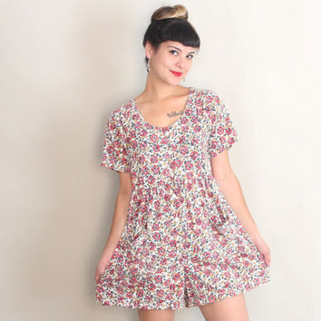 1990s FLORAL ROMPER | Vintage 90s Cotton Jersey Babydoll One Piece | s/m