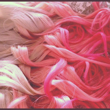 Ombre Hair, Dip Dye Ombre Hair,  Pink, Cotton Candy, Ombre, Blonde, Platinum, Dip Dye, Pastel Hair (7) Pieces 20""