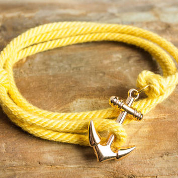 Nautical rope anchor bracelet - Yellow