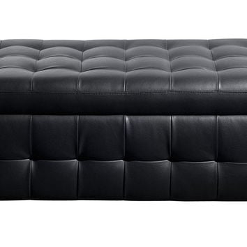 Bonded Leather Lift Top Tufted Storage Trunk Black