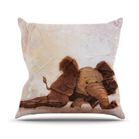 KESS InHouse The Elephant with the Long Ears Throw Pillow