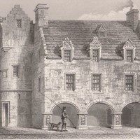 Antique Print Street architecture at Elgin Castle Scotland (A60) by Grandpa's Market