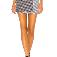 About Us Arely Two Tone Wrap Skirt in Black & White
