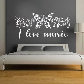 Music Wall Decals Vinyl Notes Decal Butterfly Sticker Nursery Bedroom Art LM63