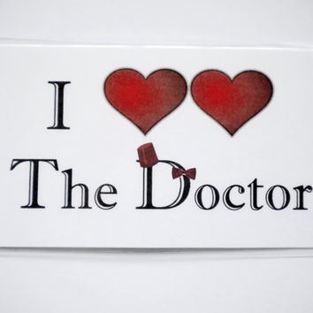 Doctor Who Magnet, Whovian Decor, I Heart Heart the Doctor, Eleventh Doctor Art, Matt Smith