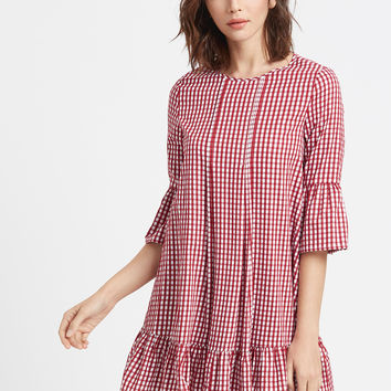 Red Checkered Double Godet Front Ruffle Dress | MakeMeChic.COM
