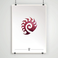 Zerg emblem starcraft 2 poster gaming geek print wall decor game wall art