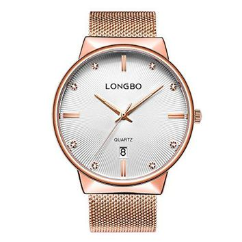 LONGBO Luxury Couples Gold Metal Mesh Strap Analog Quartz Business Watch Auto Date Calendar Couple Dress Watch Waterproof Rhinestone Accented Dial Wristwatch For Lover
