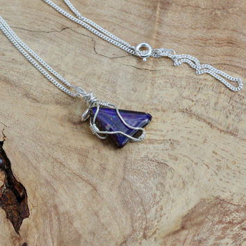 Ammolite Stone Pendant on a Sterling Silver Chain ~ Purple Blue Iridescent Stone ~ Sterling Silver Hand Wired Necklace ~ Canadian Gemstone