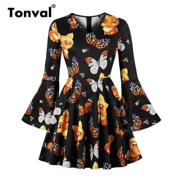 Tonval Vintage Butterfly Print A Line Cute Dress Women Long Sleeve Casual Dresses 2018 Halloween Mini Black Dress