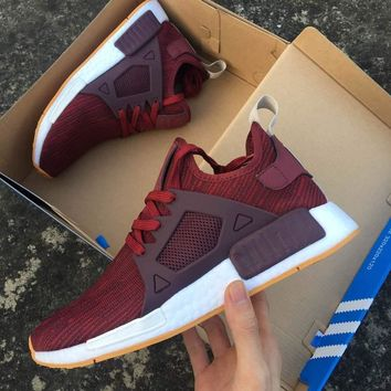 One-nice™ Adidas NMD XR1 Duck Camo Women Men Running Sport Casual Shoes Sneakers Camouflage wine red