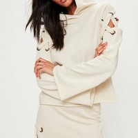 Missguided - Cream Eyelet Detail Lace Up Shoulder Hoodie