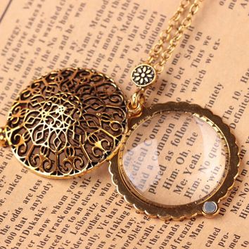 Vintage hollow out pendant Bronze Plated Life tree Owl Plated magnifying pendant Long Necklaces Jewelry For women 2017 Dropship
