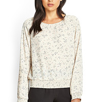 FOREVER 21 Smocked Floral Print Top Taupe/Navy