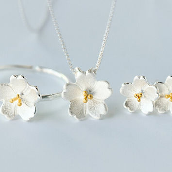 925 Sterling Silver cherry blossom jewelry set, Romantic cherry blossoms jewelry set,A perfect gift