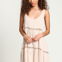 Pink Crepe Crochet Slip Dress - LoveCulture