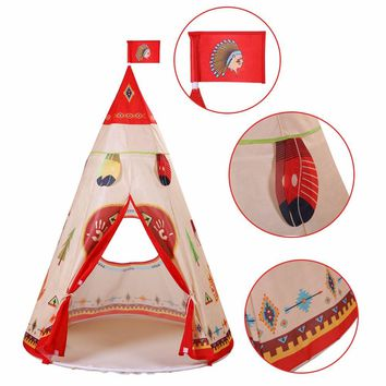 160 x 105cm Children Indian Toy Teepee Safety Tent Portable Play House Kids Indoor Game Room Outdoor