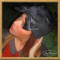 Embellished Woman's Black Mohair Vintage Pillbox with Satin Bow, Black Coque Feathers and a Vintage Italian Black Beaded Pin