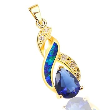 Necklace Pendant Silver Rose Gold Australian Opal Fire Topaz