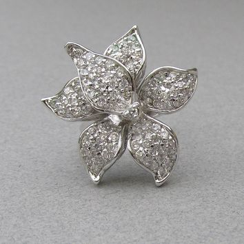 1990's Vintage Signed Nolan Miller LILY Flower Silver Tone Pave' Crystal Rhinestone Ring, Size 6