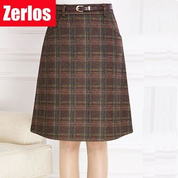 Skirts Womens 2017 spring autumn Woolen Skirt Casual Slim A-line Plaid Midi Skirts Female Fashionable High Waist Saias Femininas