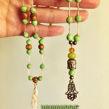 Mala buddha and hamsa hand necklace, boho hippie yoga jewelry