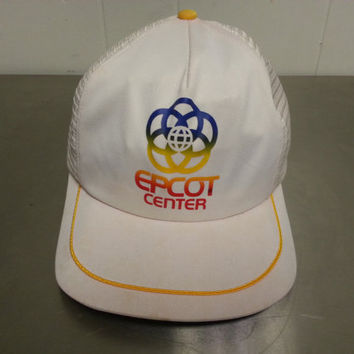 Vintage 1980's Epcot Center Snapback Hat Disneyland Disneyworld Mesh Trucker Hat 80's Made In USA