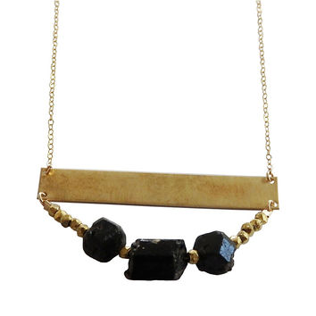Statement Beaded Necklace - Brass and Black Tourmaline