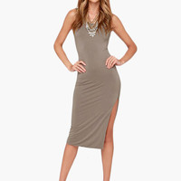 Sleeveless Twisted Back High Slit Midi Dress