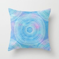 Watercolor Mandala Throw Pillow, blue pink home decor, boho bright cushions