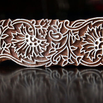 Textile Stamp, Pottery Stamp, Indian Wood Stamp, Tjaps, Blockprint Stamp- Thick Floral Border