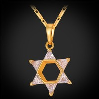 Magen Star Of David Pendant Necklace Women Jewelry Gold/Silver Color Cubic Zirconia Crystal Israel Jewish Necklace P2285