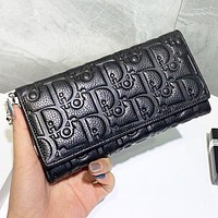 Dior New fashion more letter leather high quality wallet purse handbag Black