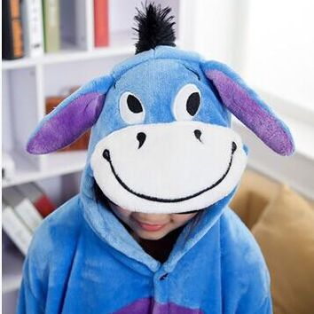 Donkey Kids Despicable Minion cosplay pajama boys girls animal Onesuit cartoon hoodie pyjamas batman costume children sleepwear