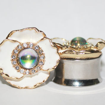 "White and Gold Flower Plugs With Moonstone Style Center 5/8"" 3/4"" 7/8"" 16mm 19mm 22mm"
