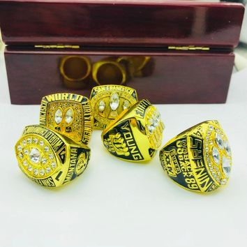 Drop shipping High Quality 5pcs alloy 1981/1984/1988/1989/1994 San Francisco The 49ers Championship Rings set With Wooden BOX