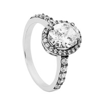 Ellani Sterling Silver White Cubic Zirconia Oval with Cubic Zirconia Surround, Band & Black Rhodium Plating Ring