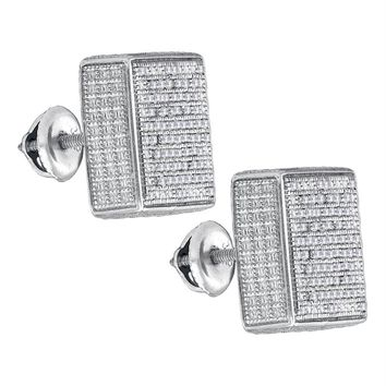 Sterling Silver Mens Round Pave-set Diamond 3D Square Cluster Stud Earrings 1-2 Cttw - FREE Shipping (US/CAN)