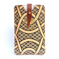 Leather Phone Case - 1900's hand drawn graphic illustration
