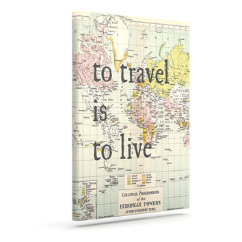 "Catherine Holcombe ""To Travel Is To Live"" Color Map Canvas Art"