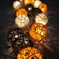 Bedroom Lighting Rattan Balls String Light Earth Tone for Home Decoration 20 Balls/Set