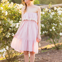 Iris Pink Strapless Dress